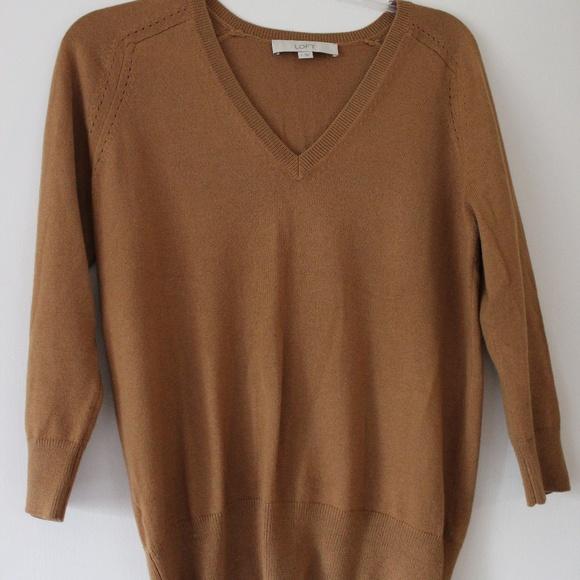 78ff730be03c6d LOFT Sweaters - Loft V Neck Camel 3 4 Sleeve Lightweight Pullover